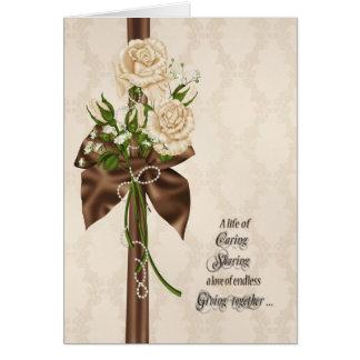 Cartão Rosas da renovação do voto de casamento