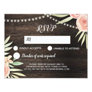 Cartão Rosas de madeira florais da flor do pêssego do