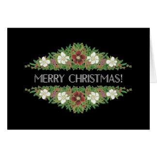 Cartão Rosas de Natal florais chiques, hera do azevinho