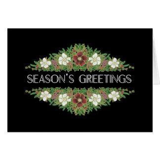 Cartão Rosas de Natal, Hellebores, os cumprimentos da