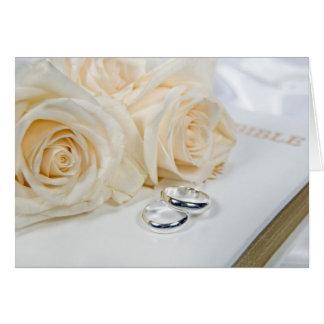 Cartão rosas do casamento na bíblia