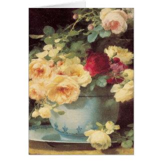 Cartão Rosas do dia das mães na bacia da porcelana