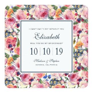 Cartão Rosas do inglês da aguarela | - dama de honra