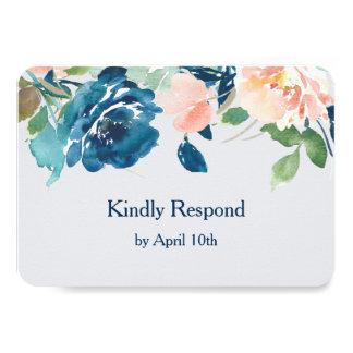 Cartão Rosas do pêssego do azul de índigo que Wedding