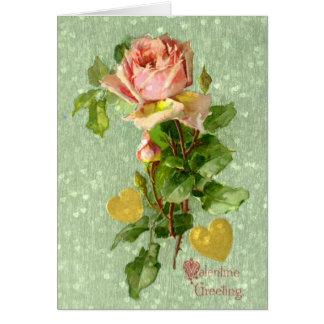 Cartão Rosas do rosa dos namorados do vintage do