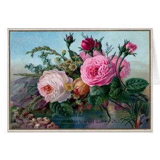 Cartão Rosas do vintage