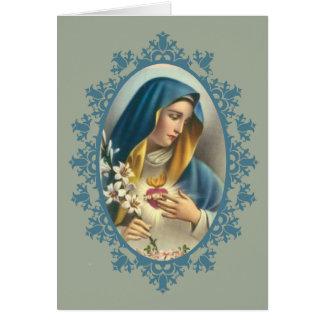 Cartão Rosas dolorosos do lírio do coração da Virgem