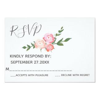 Cartão Rosas elegantes da aguarela de Boho que wedding