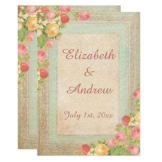 Cartão Rosas elegantes do vintage que Wedding