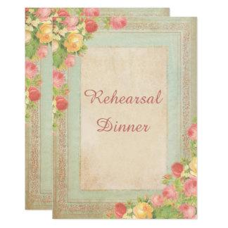 Cartão Rosas elegantes do vintage que Wedding o jantar de