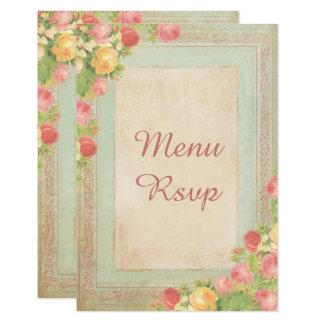 Cartão Rosas elegantes do vintage que Wedding o menu RSVP