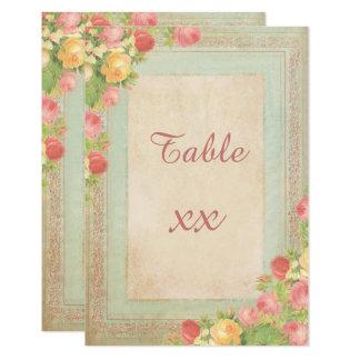 Cartão Rosas elegantes do vintage que Wedding o número da