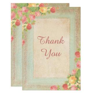 Cartão Rosas elegantes do vintage que Wedding o obrigado