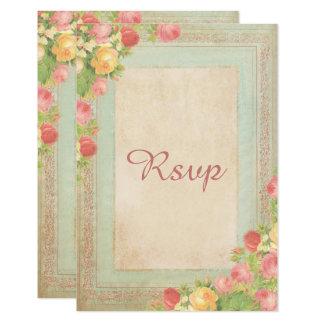 Cartão Rosas elegantes do vintage que Wedding RSVP