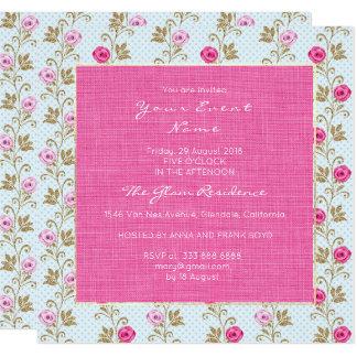 Cartão Rosas florais barrocos do rosa Pastel de Marie