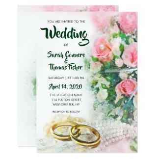 Cartão Rosas florais da aguarela do primavera que Wedding
