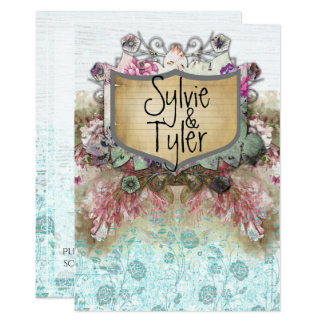 Cartão Rosas florais do azul da placa conhecida do