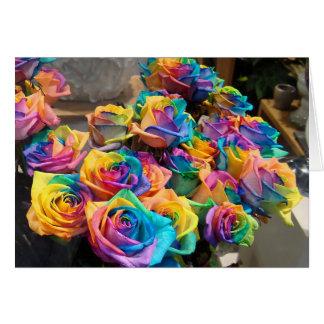 Cartão Rosas Notecard do arco-íris