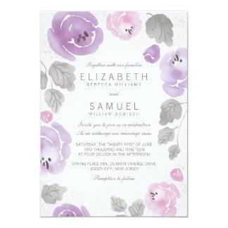 Cartão Rosas românticos da aguarela do Lilac que Wedding