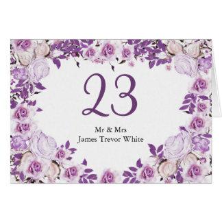 Cartão Rosas roxos da lavanda do quadro do coração que