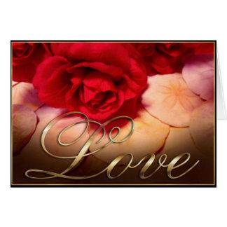 Cartão Rosas vermelhas e dólares de areia - amor
