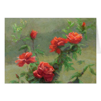 Cartão Rosas vermelhas na luz solar macia