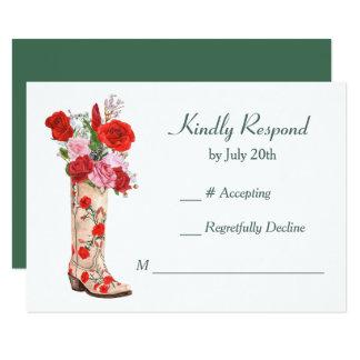 Cartão Rosas vermelhas ocidentais da bota que Wedding