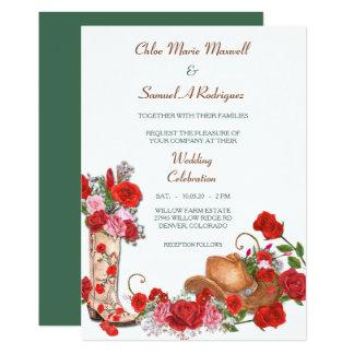 Cartão Rosas vermelhas ocidentais da bota que Wedding o