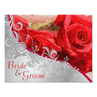 Cartão Rosas vermelhas & prata - 2 lisos tomaram partido