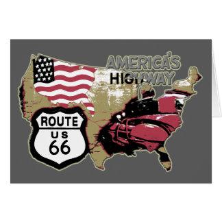 Cartão Rota 66 da estrada de América