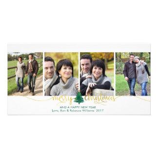 Cartão Roteiro do ouro do falso do Feliz Natal & árvore