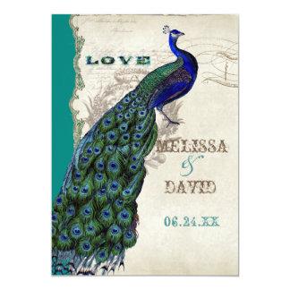 Cartão Roteiro elegante das penas de cauda do pavão do