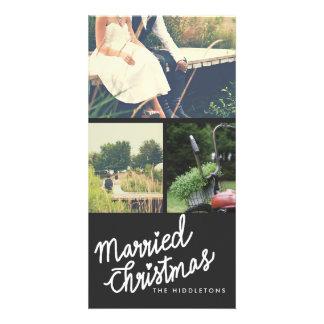 Cartão Roteiro escrito à mão casado moderno três do Natal