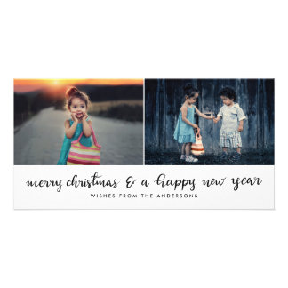 Cartão Roteiro escrito à mão do ano novo do Feliz Natal