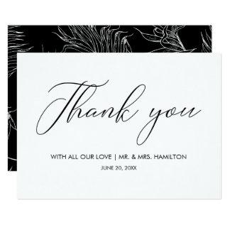 Cartão Roteiro que rotula o obrigado preto & branco do