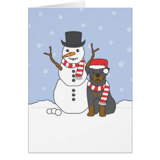 Cartão Rottweiler e boneco de neve
