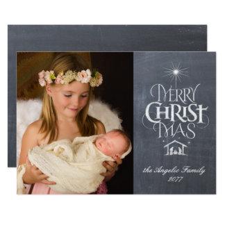 Cartão Rotulação religiosa do quadro do Feliz Natal