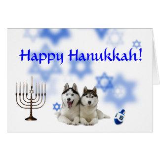 Cartão Rouco Siberian feliz de Hanukkah