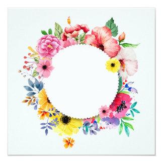 Cartão Round frame with colorful flowers