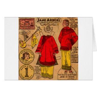 Cartão roupa de papel do chinês da boneca dos anos 30