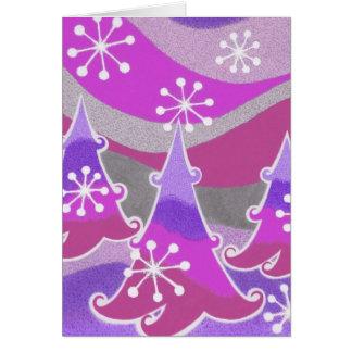 """Cartão Roxo """"boas festas"""" vertical das árvores do inverno"""