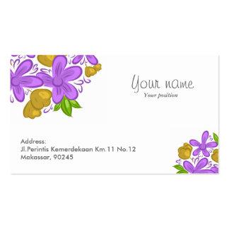 Cartão roxo bonito da flor cartão de visita