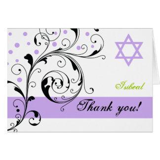 Cartão Roxo branco da folha do rolo & obrigado da estrela