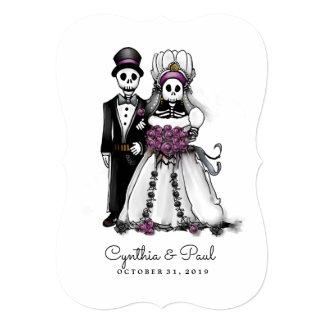 Cartão Roxo branco preto da noiva & do noivo junto com