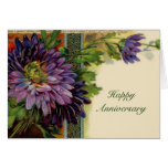 Cartão roxo customizável da flor - adicione seu te