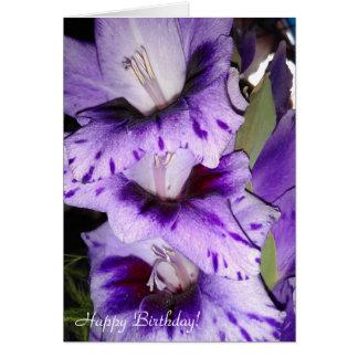Cartão roxo customizável do feliz aniversario do