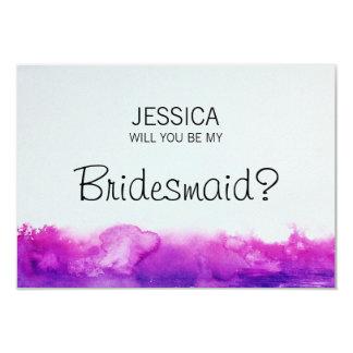 Cartão Roxo da aguarela você será minha dama de honra?