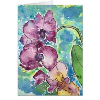 Cartão roxo da arte das orquídeas
