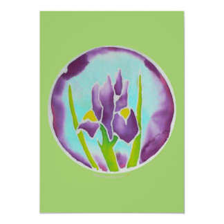Cartão roxo da arte do Batik da flor da íris