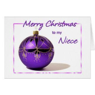 Cartão roxo da bola da sobrinha do Feliz Natal